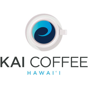 Aloha in every cup from Kai Coffee Hawaii. Locally grown and roasted Kona coffee and Maui coffee, shipped worldwide. Kai coffee swirl in white cup over Kai Coffee Hawaii Logo